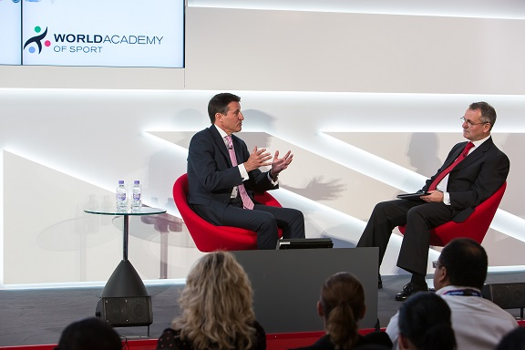 Steve Griffiths interviewing Lord Coe for the IPC Academy Inclusion Summit during the London 2012 Paralympic Games